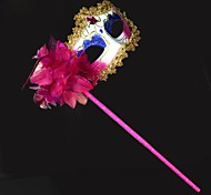 Women's Fashion Flower Painted Handheld Costume Party Mask(Random Color)