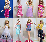 8 Pcs Barbie Doll Sweet Princess Urban Leisure Style Costume