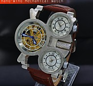 Men's Classic Leather Skeleton Hand Wind Mechanical Wrist Watch Triple Time Zone Military Watches (Assorted Colors)