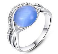 Roxi®Fashion Blue Opal Silver Alloy Statement Rings(1 Pc)