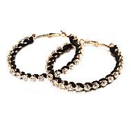 Fashion Double Row of Big Rhinestone Black Line Hoop Earring(3 Pair)