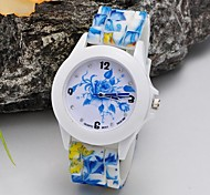 Lady Diamond Flower Jelly Silicone Watch Circular Fashion China Movement Watches(Assorted Colors)