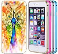 lacdo® pavão tampa traseira de alumínio caixa de metal pára-choques quadro completo para proteger iPhone 6 Plus (cores sortidas)