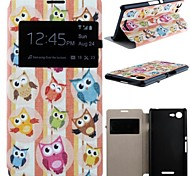 Cute Owl Pattern PU Leather Full Body Case with Card Slot for Sony Xperia E3 D2203 D2206