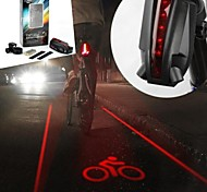 6-Mode 5-LED 2 Straight Lines Red Laser Bicycle Warning Tail Light (2xAAA Black)