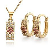 Z&X® Vintage 18K Gold Plated Wintersweet Pendant Necklace Earrings Jewelry Set (1 set)