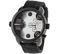 Men's Big Round Dial Dual Movement Fabric Band Quartz Wrist Watch (Assorted Colors)