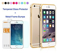 ENKAY Metal Style Frame Bumper Case with Tempered Glass Screen Protector for iPhone 6 (Assorted Colors)