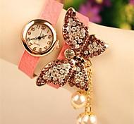 relógio de cristal redondo grande borboleta de couro pingentes boutique pérola moda quartzo japonês das mulheres (cores sortidas)