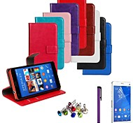 Horse Grain PU Leather Case with Film and Stylus and Dust Plug for Sony Xperia Z3 Compact/Z3 Mini (Assorted Colors)
