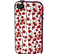 2-in-1 Hand Painted Rose Pattern TPU Back Cover with PC Bumper Shockproof Soft Case for Apple iPhone 4/4S