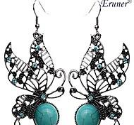 eruner®vintage mariposa grreen pendientes de turquesa