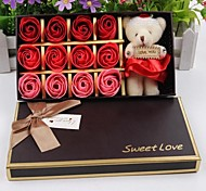 Valentine's Day Gift Romantic 12pcs Love Roses Soap Flowers With One Bear