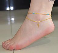 eruner®fashion bijoux croix bracelet de jambe multicouche femmes bijoux de chaîne de pied cheville