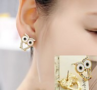 Cute Owl 18K Plated Shining Diamond High-grade Earrings