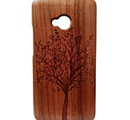 Kyuet Wooden Case Natural Handcrafted Black Walnut Laser Engraving Trees Shell Cover Skin Cell Phone Case for Htc One M7