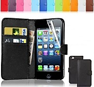 PU Leather Card Holder Wallet Case for iPhone 5C (Assorted Colors)