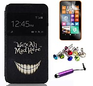 Smile Face Pattern PU Leather Case with Film and Stylus and Dust Plug for Nokia Lumia 630/635