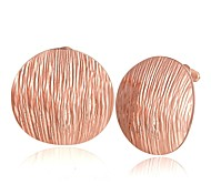 textura moda oblea oro rosa rosa de aretes bañados en oro (oro rosa) (1 par)