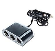 WF-076 120W 12V-24V 1A 1-to-3 Car Cigarette Lighter Socket Power Adapter with 1 USB Output (Black)