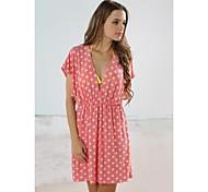Women's Fashion Sexy Pink Dot Deep-v Bikini Swimwear Swimsuit Beach Cover-up Mini Dress