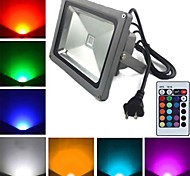1 High Power LED 2900 LM RGB Remote-Controlled LED Flood Lights AC 85-265 V