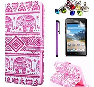 Pink Elephant Pattern PU Leather Case with Screen Protector and Stylus and Dust Plug for Huawei Y530