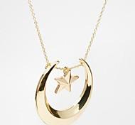 estrela da moda e pingente lua colar de ouro pingente de liga (1 pc)