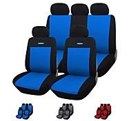 9 piezas / set azul asiento del coche gris rojo cubre material de poliéster material de ajuste universal con esponja compuesta de 3 mm