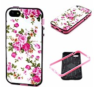 2-in-1 Pink Rose Peony Pattern TPU Back Cover with PC Bumper Shockproof Soft Case for iPhone 5C