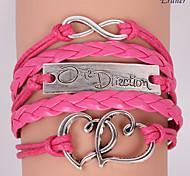 Eruner®Leather Bracelets Multilayer Alloy Heart and Infinite Charms Handmade Bracel