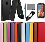 COCO FUN® Ultra Slim Solid Genuine Flip Leather Case with Film and USB Cable and Stylus for Motorola G2(Assorted Colors)