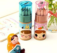Cartoon Girl 12 Colors Pencil Set