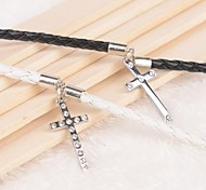 Z&X® Simple Cross Black And White PU Leather Couple Bracelets  (1 pair)