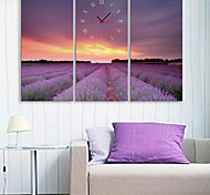 E-HOME® Lavender Flowers Clock in Canvas 3pcs