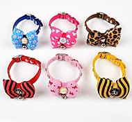 Adjustable PU Leather Bowknot and Bell Decorated  Collar for Pet Dogs(Assorted Colours,Sizes)