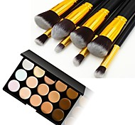8pcs Gold Tube Black Handle Cosmetic Makeup Brush Set and 15 Colors Concealer