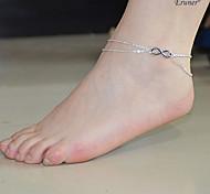 infinidad de 2 capas sandalia de la playa pulsera tobillera cadena del encanto de la joyería descalza