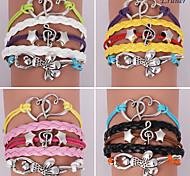 Eruner®Leather Bracelets Multilayer Alloy Heart and Girl Charms Handmade Bracelets