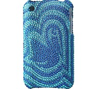 azul caso difícil flor Bling inferior caso pc para iPhone 3G / 3GS