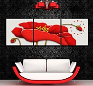 E-HOME® The Red Flowers Clock in Canvas 3pcs