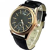 Second hand pour hommes seuls cadran rond PU bande de montre-bracelet à quartz analogique (couleurs assorties)