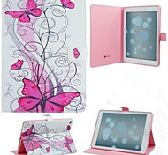 Pink Butterfly and Flowers PU Cases with Stand for iPad Air 2