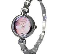 senhoras das mulheres redondas prata pulseira pulseira de relógio de quartzo fw705b
