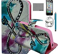 COCO FUN® Bow Arrow Pattern PU Leather Case with Screen Protector and USB Cable and Stylus for iPhone 4/4S