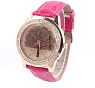 Women's  Round Belt Watch Diamond Leaves Table China Movement Tashion Watch (Assorted Colors)