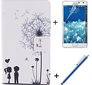 Lover and Dandelion Pattern PU Leather Full Body Case with Film and Capacitance Pen for Samsung Galaxy Note Edge N9150