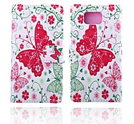 Pink Butterfly Pattern PU Leather Case with Stand for Samsung Galaxy Alpha G850F