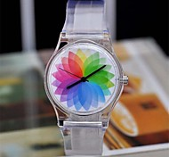 Women's Magic Color Transparent Plastic Watch Circular High Quality  Watch