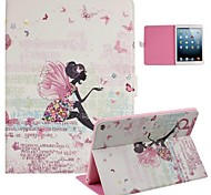Fashion Girl and Butterfly Inlaid Shiny Glitter Diamond PU Cases with Stand for iPad Air 2